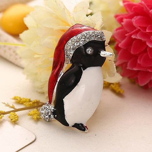 MilkySkinForever Fashion Rhinestone Creative Penguin Hat Brooch Pin Jewelry Party Xmas Gift