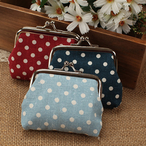 MilkySkinForever Women's Mini Polka Dot Cotton Coin Purse Twist Clip Framed Change Bag Wallet