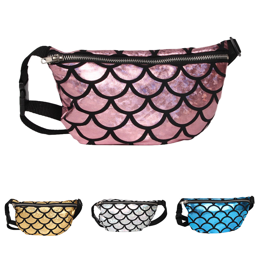 MilkySkinForever Shiny Fish Scale Waist Bag Fanny Pack Women Makeup Pouch Crossbody Shoulder Bag