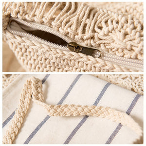 MilkySkinForever Vintage Women's Zipper Woven Tassel Bag Crossbody Shoulder Bag Summer Beach Bag