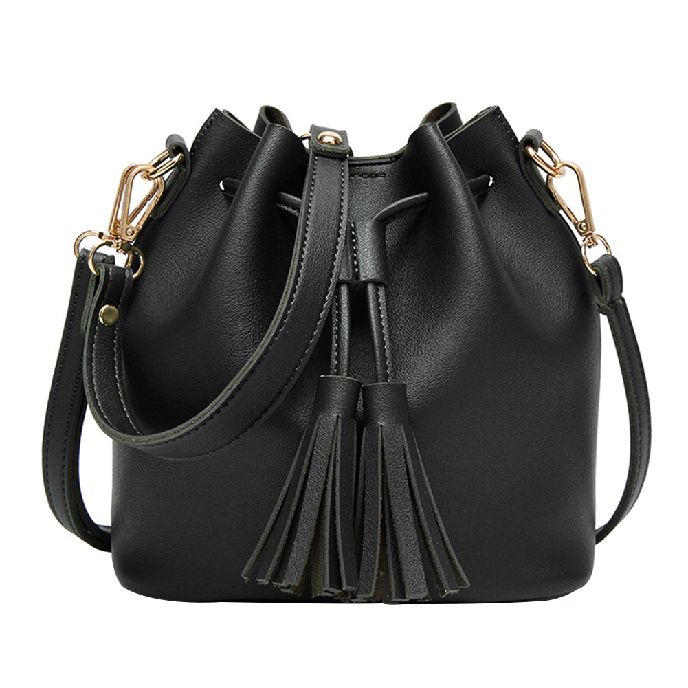 MilkySkinForever Women Retro Tassel Drawstring Faux Leather Shoulder Crossbody Bucket Bag Handbag