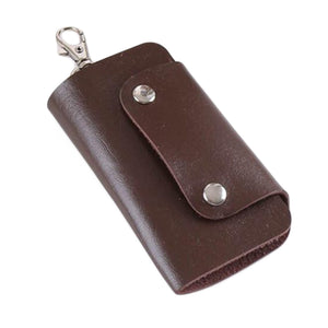 Faux Leather Key Organizer Case Keychain Holder Magnetic Button Pouch Bag Gift