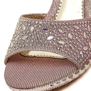 MilkySkinForever Hot Glitter Rhinestone Peep Toe High Heel Platform Slipper Sandals Women Shoes
