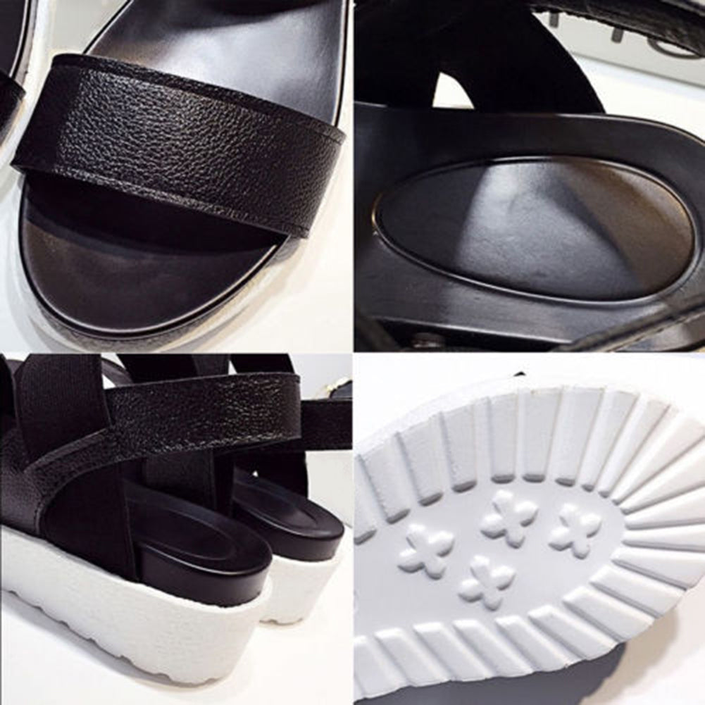 MilkySkinForever Summer Women Open Toe Ankle Strap Roman Sandals Fashion Anti-skid Platform Shoes