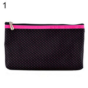 MilkySkinForever Women Stripe Dots Toiletry Makeup Bag Travel Cosmetic Storage Case Wash Pouch