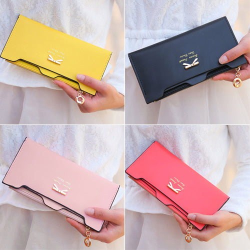 MilkySkinForever Fashion Women's Faux Leather Clutch Wallet Handbag Zipper Long Card Holder Purse