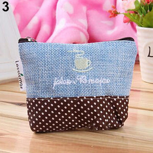 Retro Cotton Zipper Closure Mini Coin Purse Handbag Pouch Wallet Money Bag Case