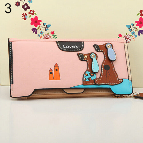 MilkySkinForever Women Long Faux Leather Dog Pendent Wallet Double Zip Hasp Purse Card Holder Bag