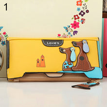 Load image into Gallery viewer, MilkySkinForever Women Long Faux Leather Dog Pendent Wallet Double Zip Hasp Purse Card Holder Bag