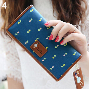 MilkySkinForever Women Flower Girl Faux Leather Wallet Long Card Holder Handbag Bag Clutch Purse