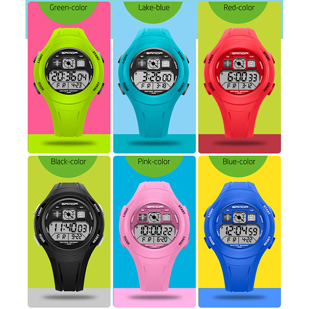 MilkySkinForever Sports Waterproof Backlight Alarm Round Dial Rubber Kids Digital Wrist Watch