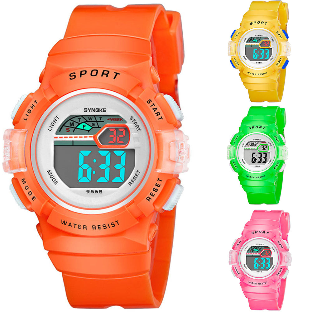 MilkySkinForever Multifunction Alarm Weekday Stopwatch Kids Sports Digital Luminous Wrist Watch