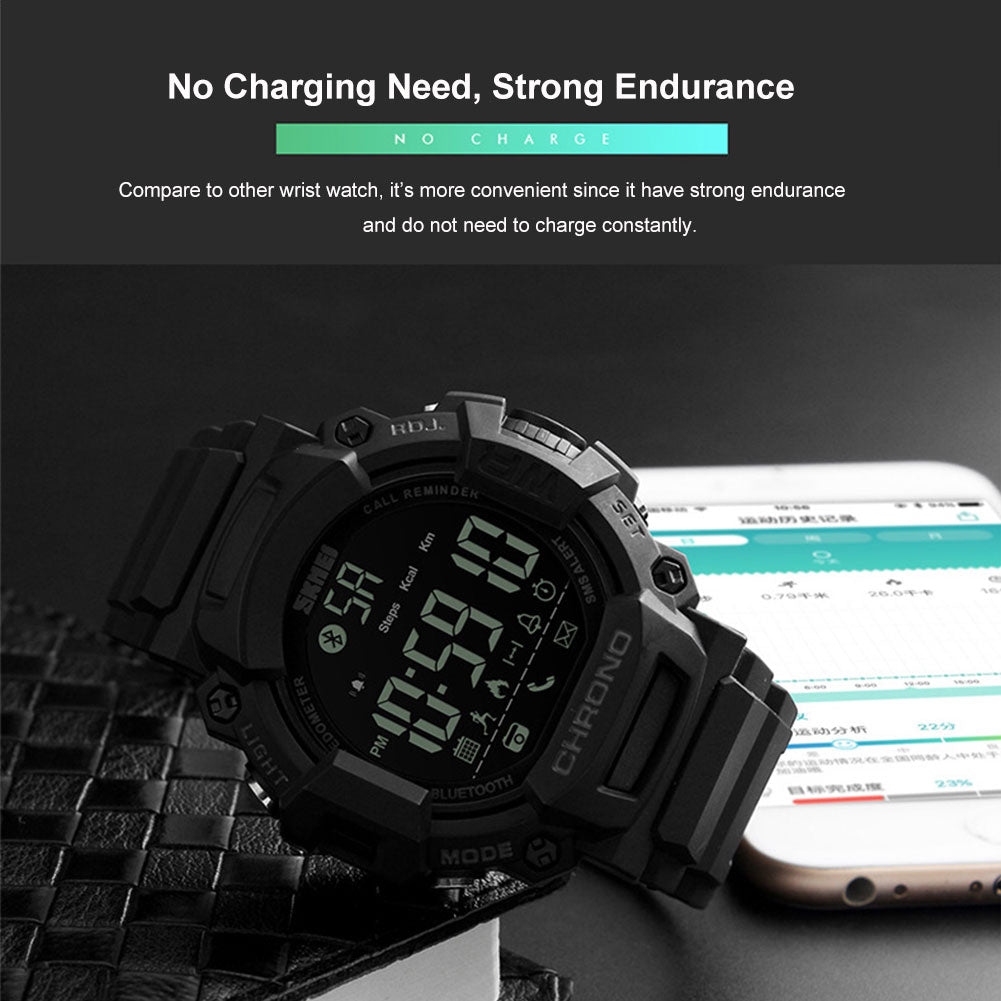 MilkySkinForever Multifunctional Sports Pedometer Bluetooth Phone Message Remind Men Wrist Watch