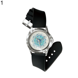 MilkySkinForever Retro Kaleidoscope Lotus Petals Pattern PVC Band Quartz Unisex Wrist Watch Gift