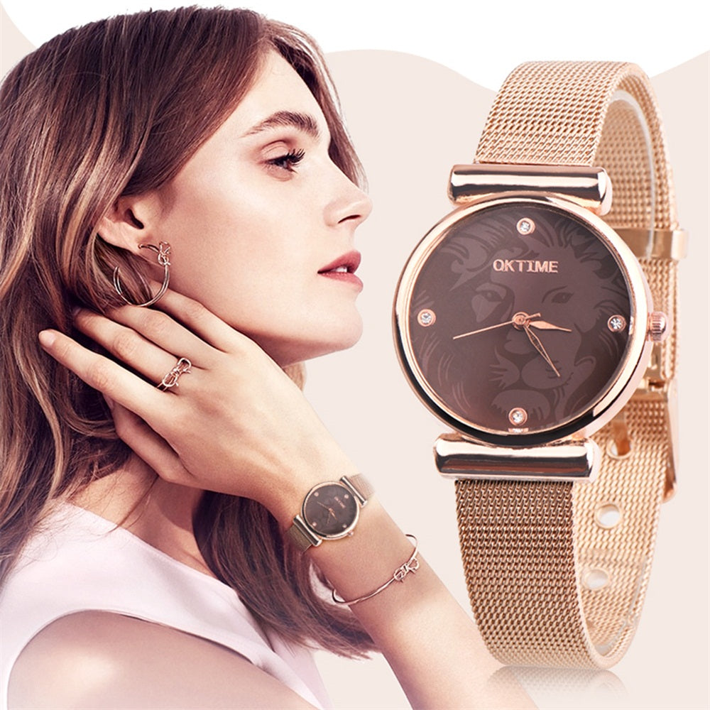 MilkySkinForever Lion Design Women Rhinestone Faux Leather/Alloy Grid Band Quartz Wrist Watch