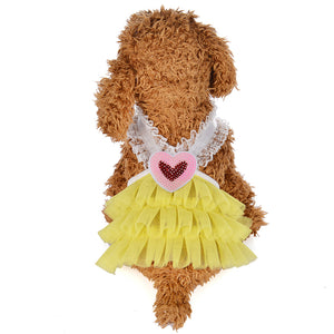 MilkySkinForever Summer Dog Puppy Lovely Heart V Neck Princess Dresses Skirt Clothes Pet Supplies