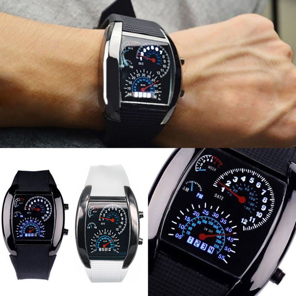 MilkySkinForever Fashion Men Women LED Digital Dashboard Pattern Dial Sport Wrist Watch Gift