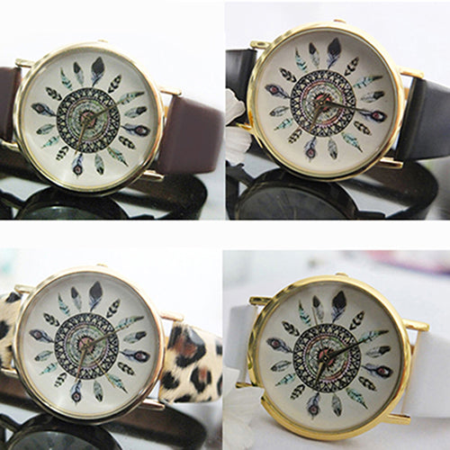 Women Feather Print Round Dial Faux Leather Band Geneva Dress Wrist Watch