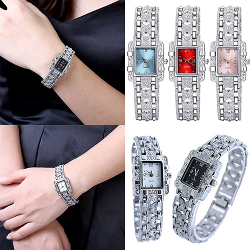 Fashion Rectangle Dial Rhinestone Alloy Band Lady Women Gift Analog Wrist Watch