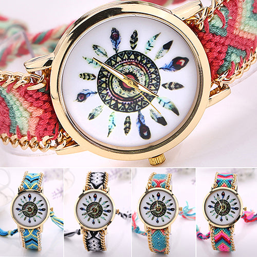 Women's Analog Quartz Golden Chain Knitted Braided Bracelet Ethnic Wrist Watch