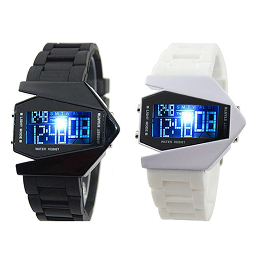 MilkySkinForever Cool Men's Oversized Design Light Digital Sports Plan Shaped Dial Wrist Watch