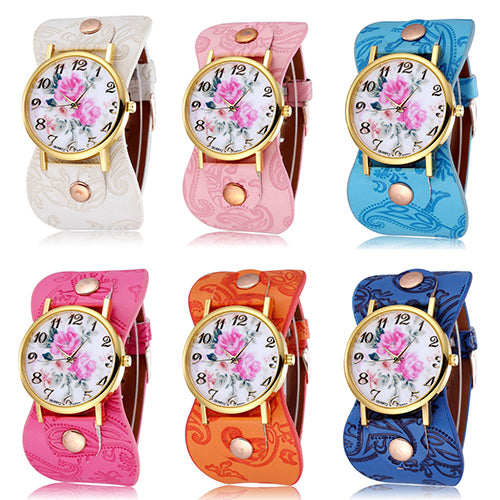 Women's Peony Flower Round Dial Wide Faux Leather Band Bracelet Wrist Watch