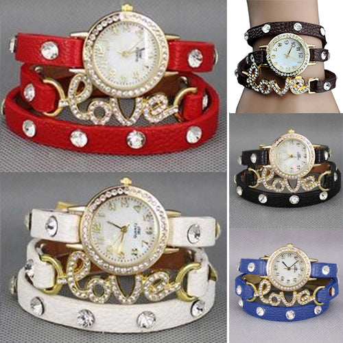 MilkySkinForever Women Multilayer Love Letters Faux Leather Band Bracelet Dress Wrist Watch