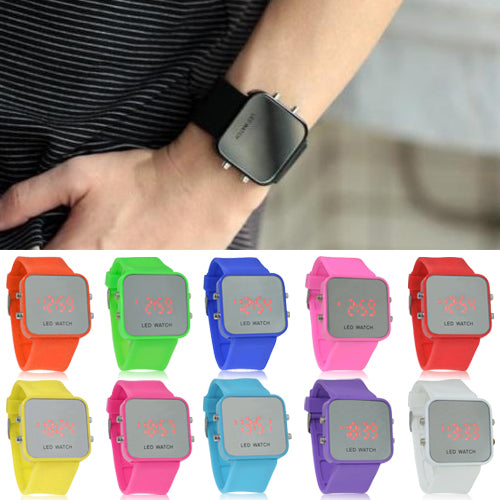 MilkySkinForever Unisex Candy Color LED Mirror Dial Silicone Band Quartz Sports Wrist Watch