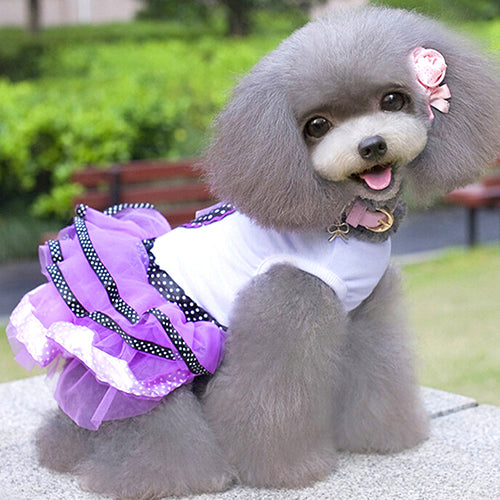 Pet Dog Puppy Love Heart Dots Gauze Tutu Dress Cat Bow Wedding Clothes Skirt