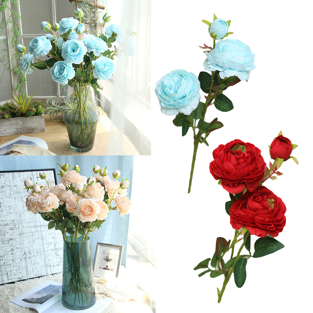 MilkySkinForever 1Pc 3 Heads Artificial Fake Peony Flower Wedding Party Home Office Decoration