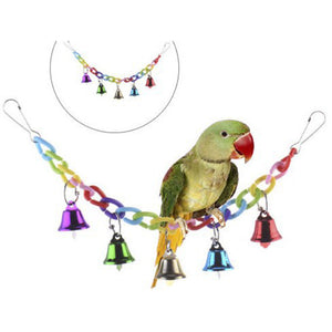 MilkySkinForever Colorful Parrot Climbing Chewing Pet Training Toy Birds Hanging Acrylic Bell