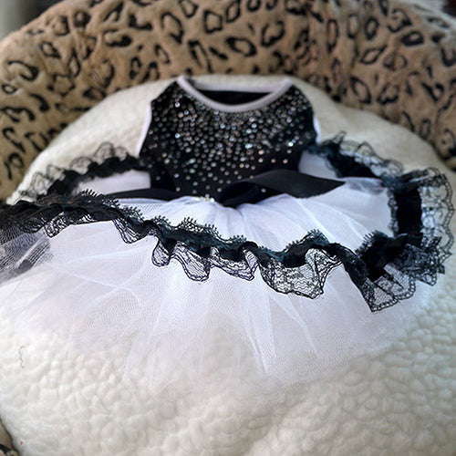 MilkySkinForever Glitter Bow Lace Dog Princess Tutu Dress Bubble Skirt Pet Clothes Puppy Costume