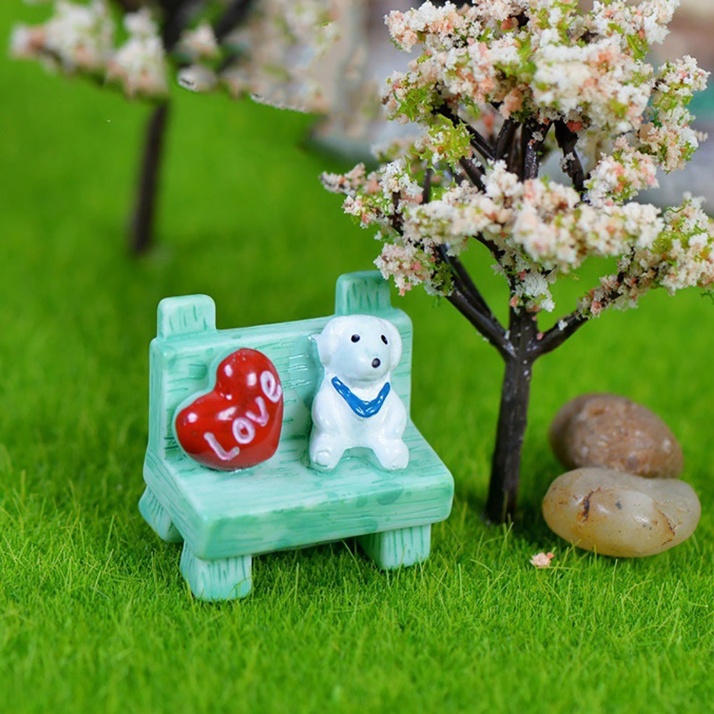 MilkySkinForever Miniature Resin Dog Sofa Bench Moss Micro Potted Landscape Decoration Ornament