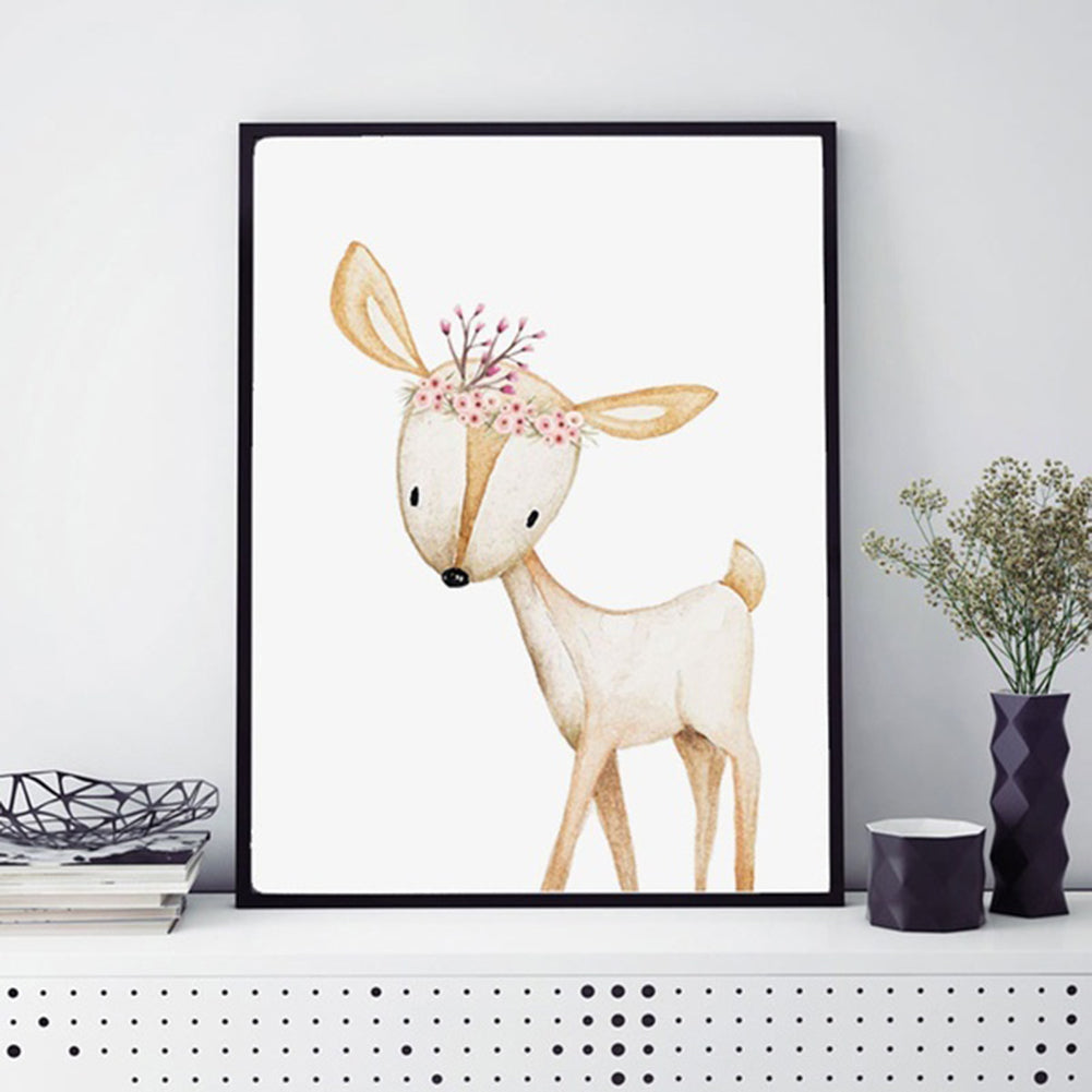MilkySkinForever Modern Nordic Cute Fox Deer Animal Wall Art Painting Kids Room Home Decoration