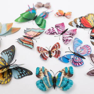 MilkySkinForever 12Pcs 3D Butterfly Sticker Magnetic Glow in The Dark Decal for Party Kids Room