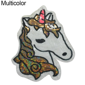 MilkySkinForever Unicorn Sequins Embroidered Cloth Accessories Jeans Iron Patches Applique DIY
