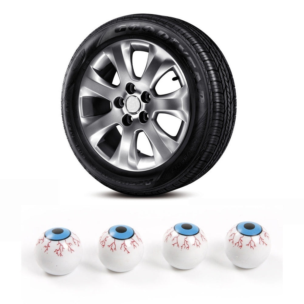MilkySkinForever 4Pcs Eyeball Universal Car Truck Wheel Tire Air Valve Stem Anti-dust Cover Caps