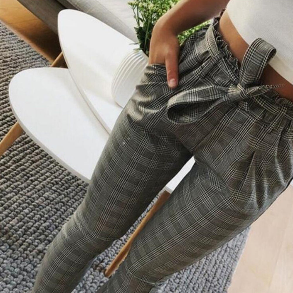 MilkySkinForever Fashion Stripe Plaid Women's Slim Fit Casual Pencil Ninth Pants with Waist Strap