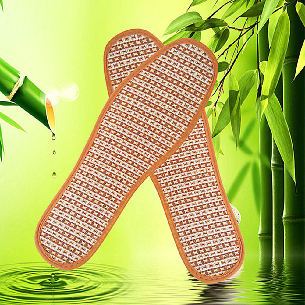 1 Pair Breathable Anti-Bacterial Bamboo Charcoal Hand-Woven Shoe Pads Insoles