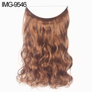 MilkySkinForever Fish Line Natural Fiber Hairpiece Hair Extension Long Women Curly Straight Wig