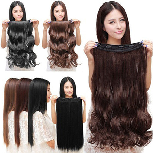 MilkySkinForever Women Clip in Hair Extensions Long Wavy Curly Hair 5 Clips Synthetic Wigs