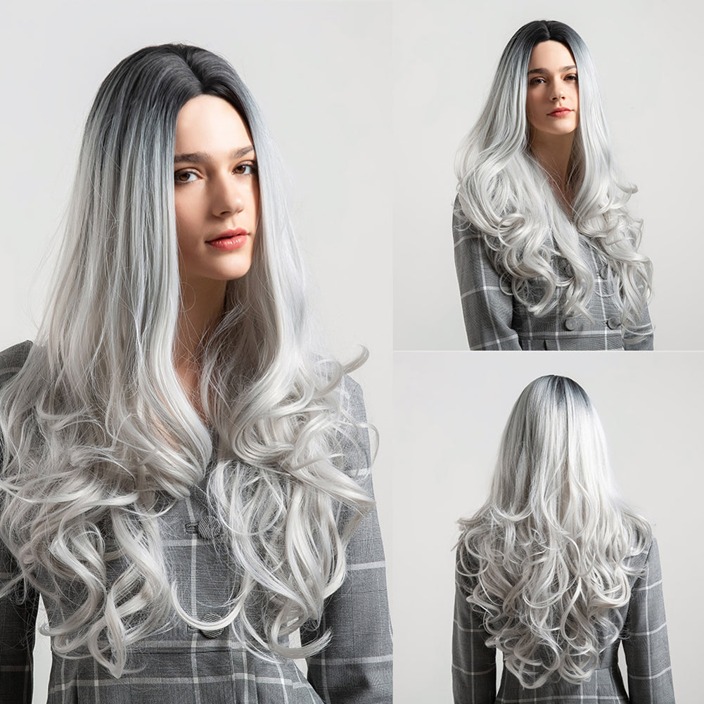 MilkySkinForever  Black Grey Gradient Long Curly Faux Hair Wig Women Party Cosplay Hairpiece
