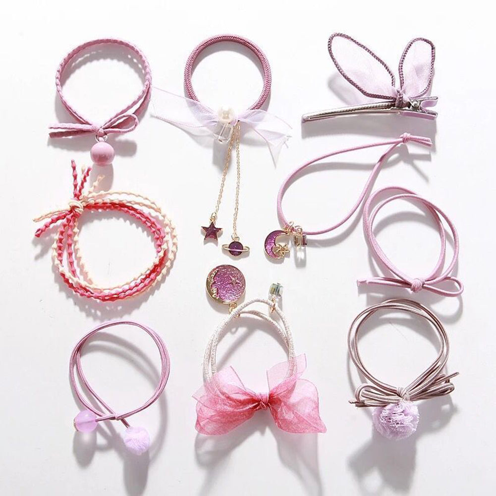 MilkySkinForever 9Pcs/Set Women Moon Star Bowknot Faux Pearl Hair Rope Ponytail Holder Hairband