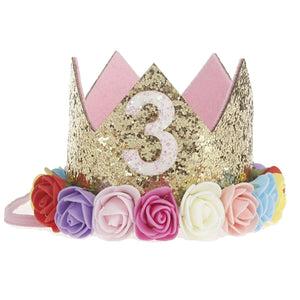 MilkySkinForever Baby Girl Sequin Number Flower Crown Headband Birthday Party Performing Headwear