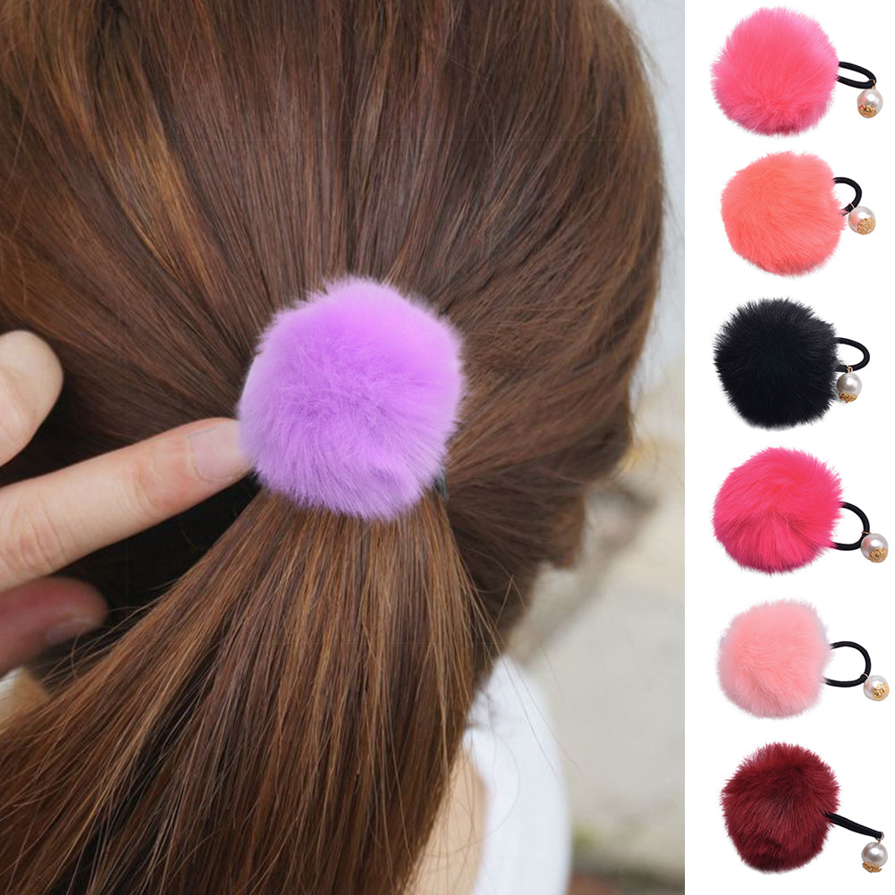 MilkySkinForever Baby Girls Fur Ball Faux Pearl Ponytail Holder Hair Rope Ring Tie Rubber Band