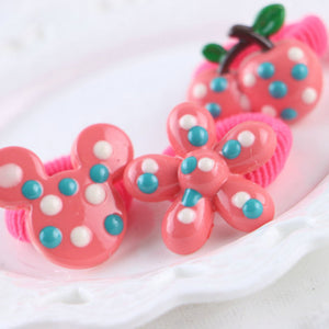 MilkySkinForever 6Pcs Lovely Cartoon Animal Fruit Hair Elastic Ring Kids Girls Ponytail Holder