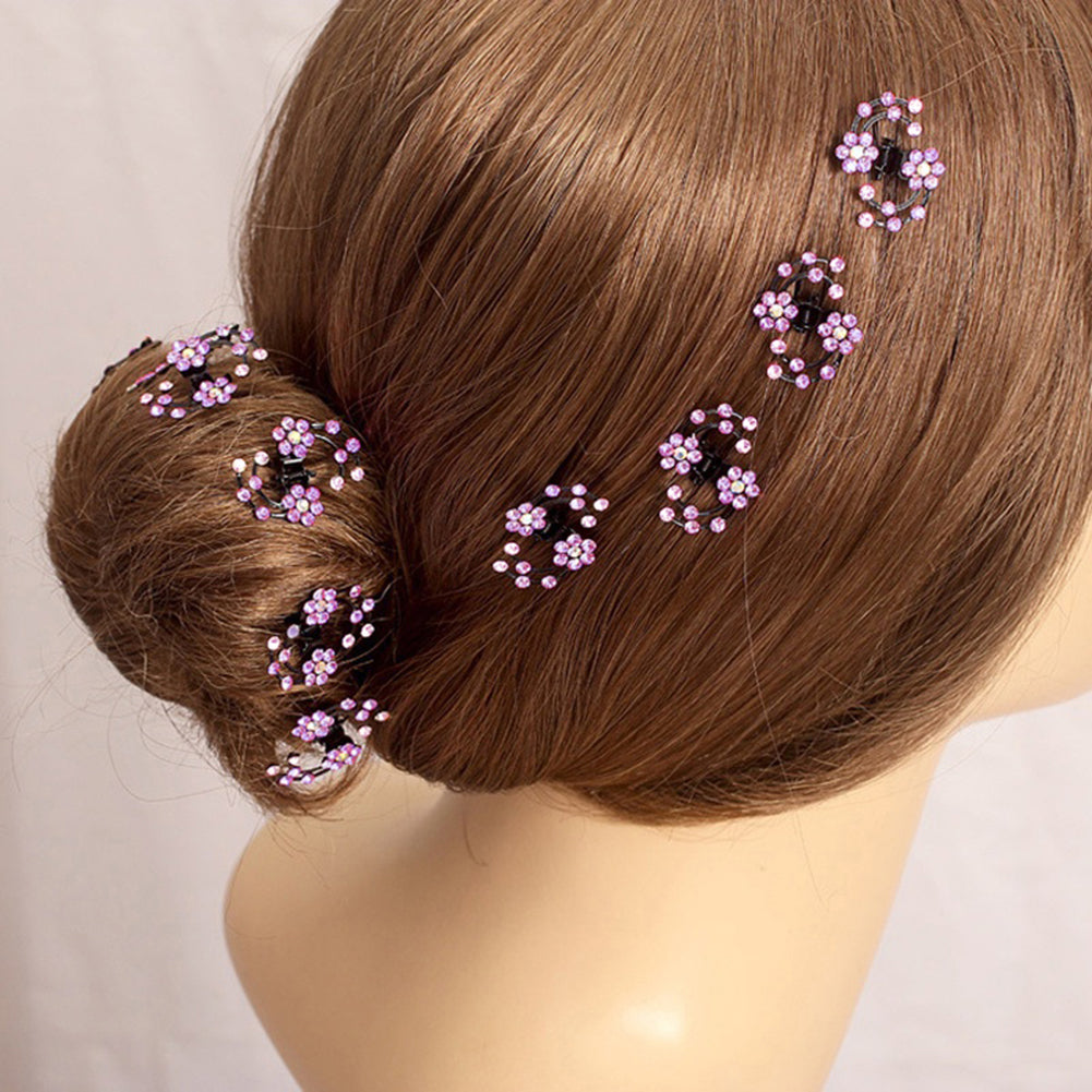 MilkySkinForever 6Pcs Mini Headwear Rhinestone Bridal Hair Claws Plum Blossom Flower Hair Pins
