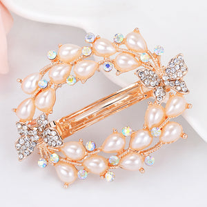 MilkySkinForever Women's Fashion Rhinestone Butterfly Leaves Hair Clip Barrette Jewelry Hairpin