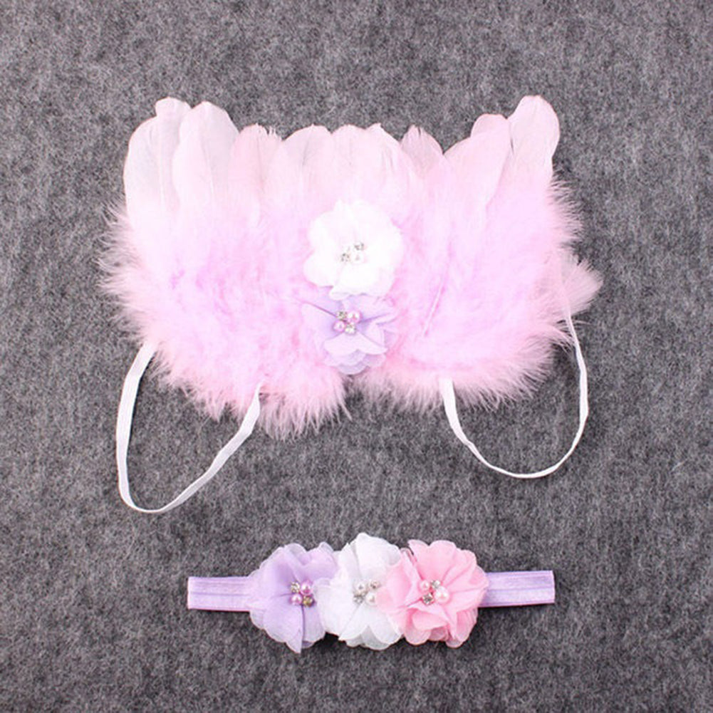 MilkySkinForever Cute Angel Wings Feather Flower Lace Headband Newborn Baby Girl Photography Prop
