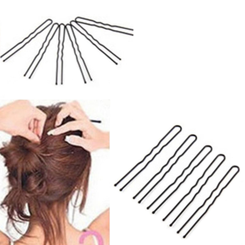 MilkySkinForever 50 Pcs Waved U-shaped Hairclips Bobby Pin Barrette Salon Grip Hair Clip Hairpin